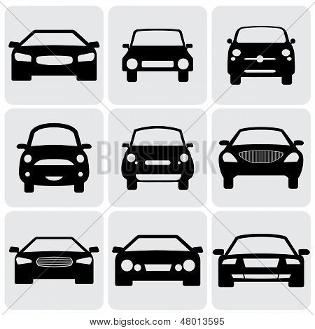 compact and luxury passenger car icons(signs) front view- vector graphic. This illustration represents nine symbols of car's front side in black color against white background poster