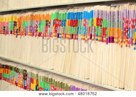 Medical files in a long row