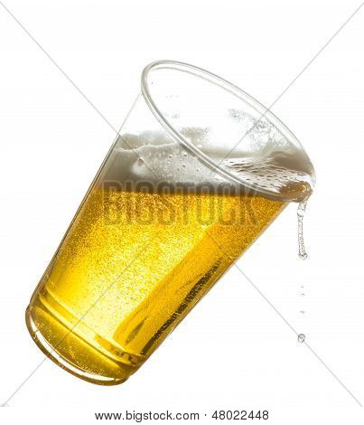 Golden Lager Or Beer In Disposable Plastic Cup