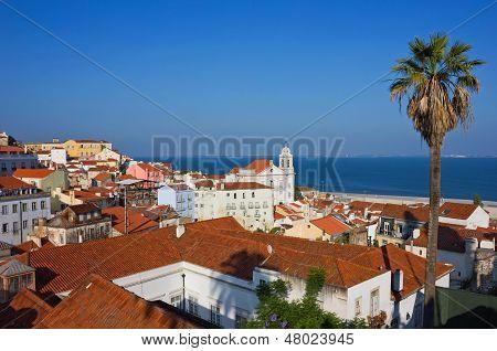 Lisbon Alfama Panoramic View Toward The River
