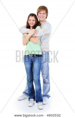 Happy Young Embrasing Loving Couple