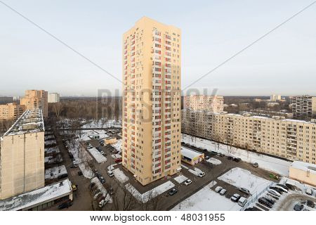 MOSCOW - DEC 22: High-rise residential building in district of Moscow on December 22, 2012 in Moscow, Russia. This tower was built for the defrauded investors.