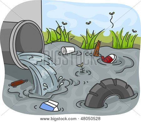 Illustration of Industrial Wastes resulting to Water Pollution poster