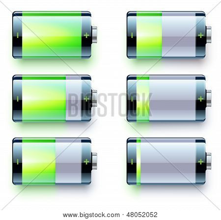 Vector illustration of detailed glossy battery level indicator icons poster