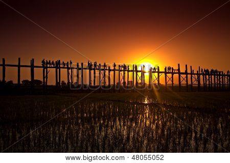U Bein Bridge is a crossing that spans the Taungthaman Lake near Amarapura in Myanmar.