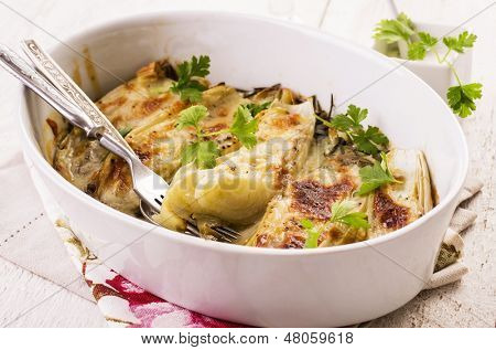 chicory baked with cheese poster