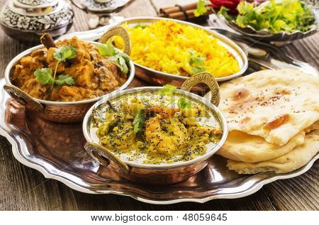 indian curries with rice and bread  poster
