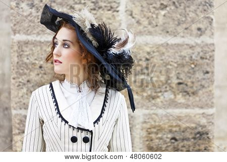 Old-fashioned Dressed Woman With Wandering Gaze