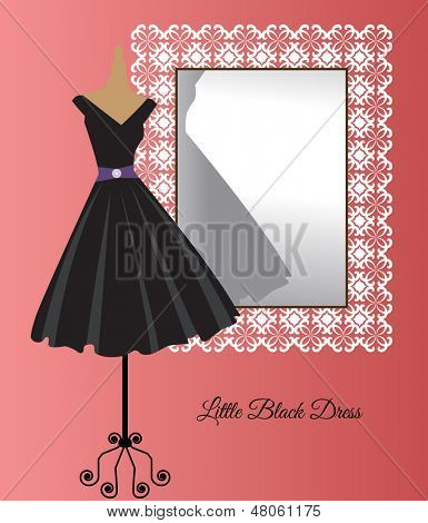All occasion little black dress in front of decorative mirror