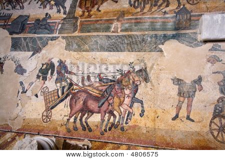 Spectacular mosaics of the Casale Roman Villa in the Piazza Armerina - Sicily poster