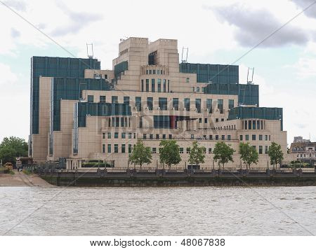 SIS MI6 headquarters of British Secret Intelligence Service at Vauxhall Cross London poster