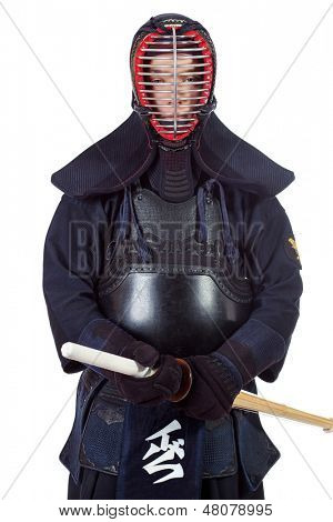 Kendo fighter posing at studio. Isolated over white. poster