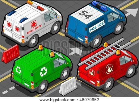 Isometric Trucks Firefighters, Police, Ambulance, Garbage Collector In Rear View