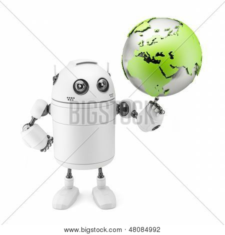 Cute White Robot Holding Globe