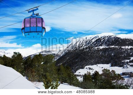 Mountains In Androrra And Ski Cable Car