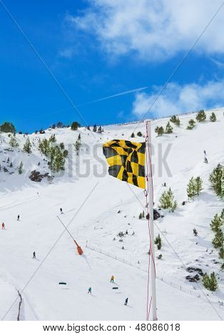 Avalanche Medium Risk Warning Flag