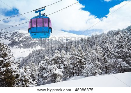 Closeup Of Ski Lift Cable Car