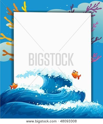 Illustration of an empty template at the sea with fishes