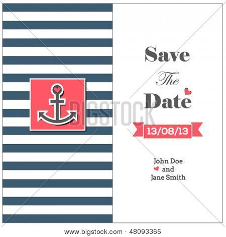 Wedding nautical invitation card with anchor