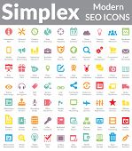 Set of simple, clean and modern SEO Services & Web Designer Icons. Suitable for wide media templates like: Web Marketing Agency Services, Social Media Services Showcase, Websites, Presentations, Promotional Materials, illustrations or Infographics. poster