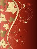 Abstract background with waves floral ornament and leafs poster