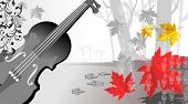 Illustration of violin and maples in colour background poster