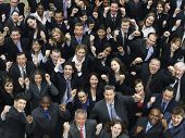 Elevated view of large group of multiethnic business people cheering