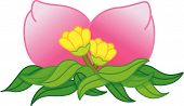 pink fruits decorated with flowers and leafs poster