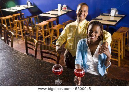 Couple having drinks in a restaurant