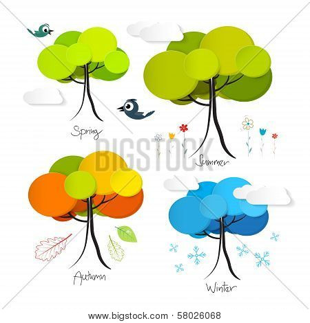 Four Seasons Vector Illustration Isolated on White Background poster