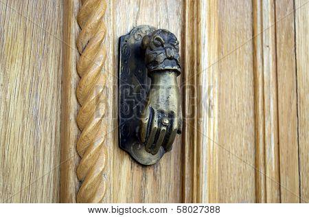 Ancient Hand Doorknocker From Copper