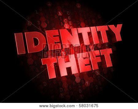 Identity Theft on Dark Digital Background.
