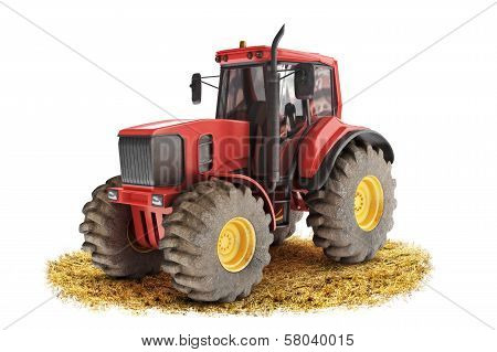 Red generic tractor positioned on a field