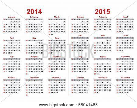 2014 And 2015 Years Calendar