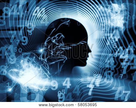 Artistic background made of human feature lines and symbolic elements for use with projects on human mind consciousness imagination science and creativity poster