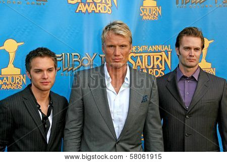 Thomas Dekker with Dolph Lundgren and Garret Dillahunt  at the 34th Annual Saturn Awards. Universal Hilton Hotel, Universal City, CA. 06-24-08