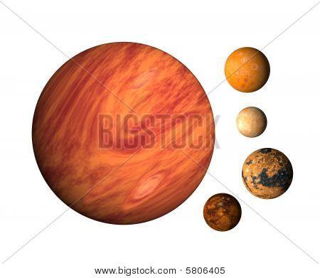 Planeta Júpiter y sus lunas