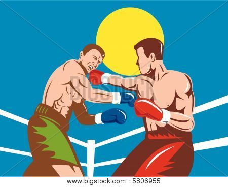 Boxer connecting a knockout punch