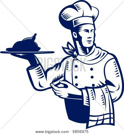 Cook chef serving food