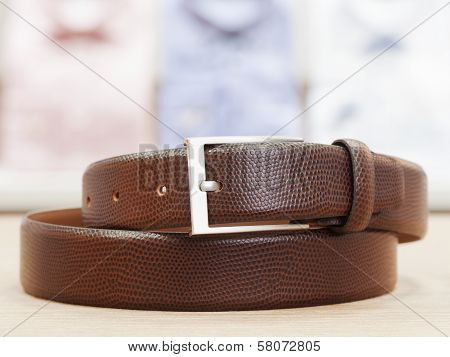 Men Leather Belt With Silver Buckle