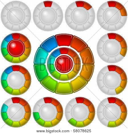Set of round glass colorful loading progress bars of rings at different stages, elements for web design. Eps10, contains transparencies. Vector poster