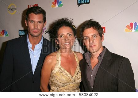 Jeff Lewis with Jenni Pulos and Ryan Brown  at the NBC Universal 2008 Press Tour All Star Party. Beverly Hilton Hotel, Beverly Hills, CA. 07-20-08