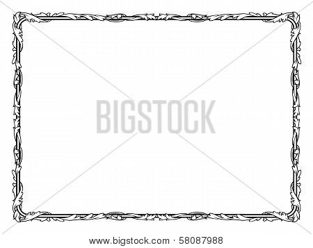 calligraphy penmanship curly baroque frame black