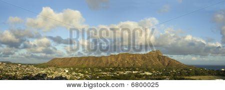 Panoramic View Of Diamond Head In Hawaii.