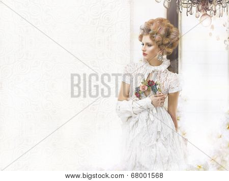 Nostalgic Styled Woman In Openwork Lacy Retro Dress