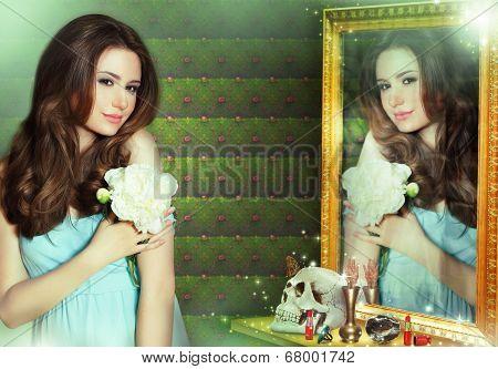 Mantra. Incantation. Woman Wizard Reflecting In Mirror