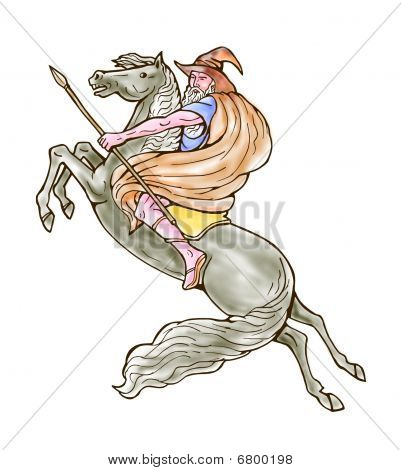 poster of illustration of wizard or Norse God Odin riding horse isolated on white