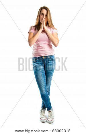 Girl Pleading Over White Background