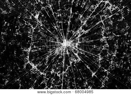 Background Of Black Broken Glass In Cracks