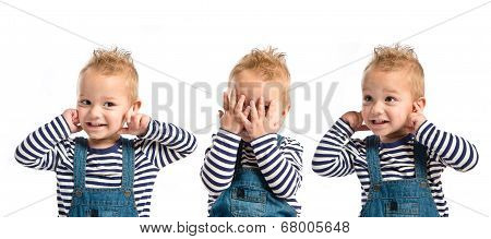 Boy Covering His Eyes And His Ears Over White Background